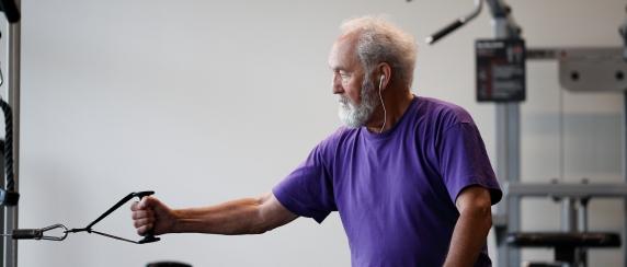 Adult on fitness machine